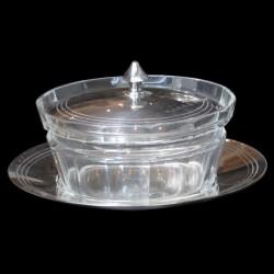Pot parmesan cristal et métal argenté
