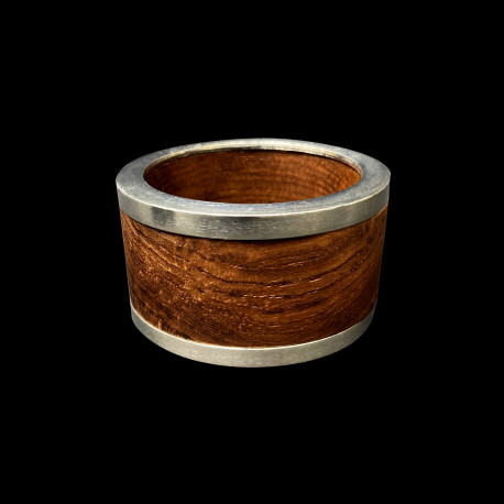 Wood napkin ring pewter