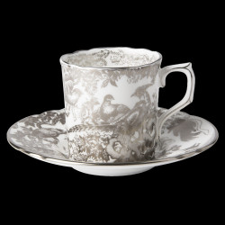 Royal Crown Derby Aves Platinum Coffee cup & saucer