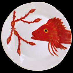 Majolica dinner plate red gurnard