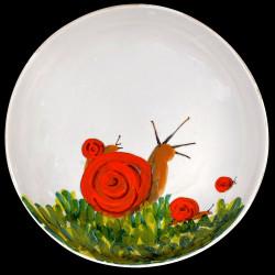 Majolica Snail large round dish