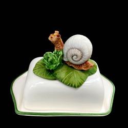 Majolica Snail butter dish