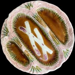 Assiette à asperge barbotine trois compartiments bord rose