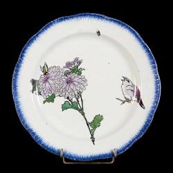Bracquemond Chrysanthème & Moineau roses assiette D 25 cm