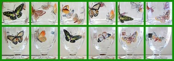 Verres papillons peint main