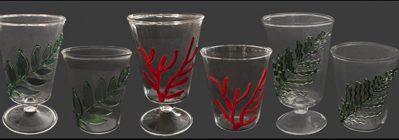 Glasses with Coral, Fern and Olive tree