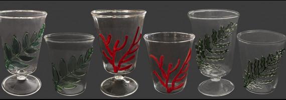Verres corail, fougère, et olivier